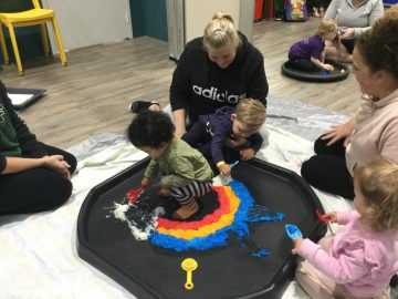 Archie week rainbow noodles messy play