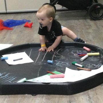 Mark making patterns in play tray